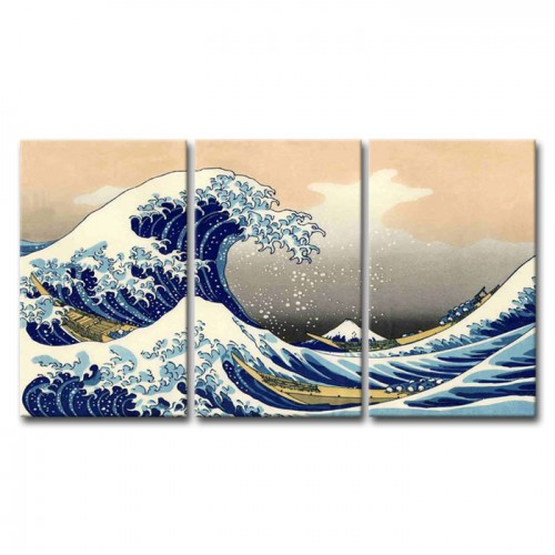 Lukisan The Great Wave of Okunawa Repro Canvas Painting