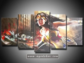 Jual Wall Art Wonder Woman Canvas 5 Panel