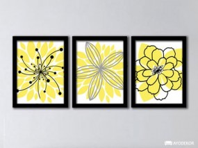 Jual Wall Art Yellow Floral Minimalistic